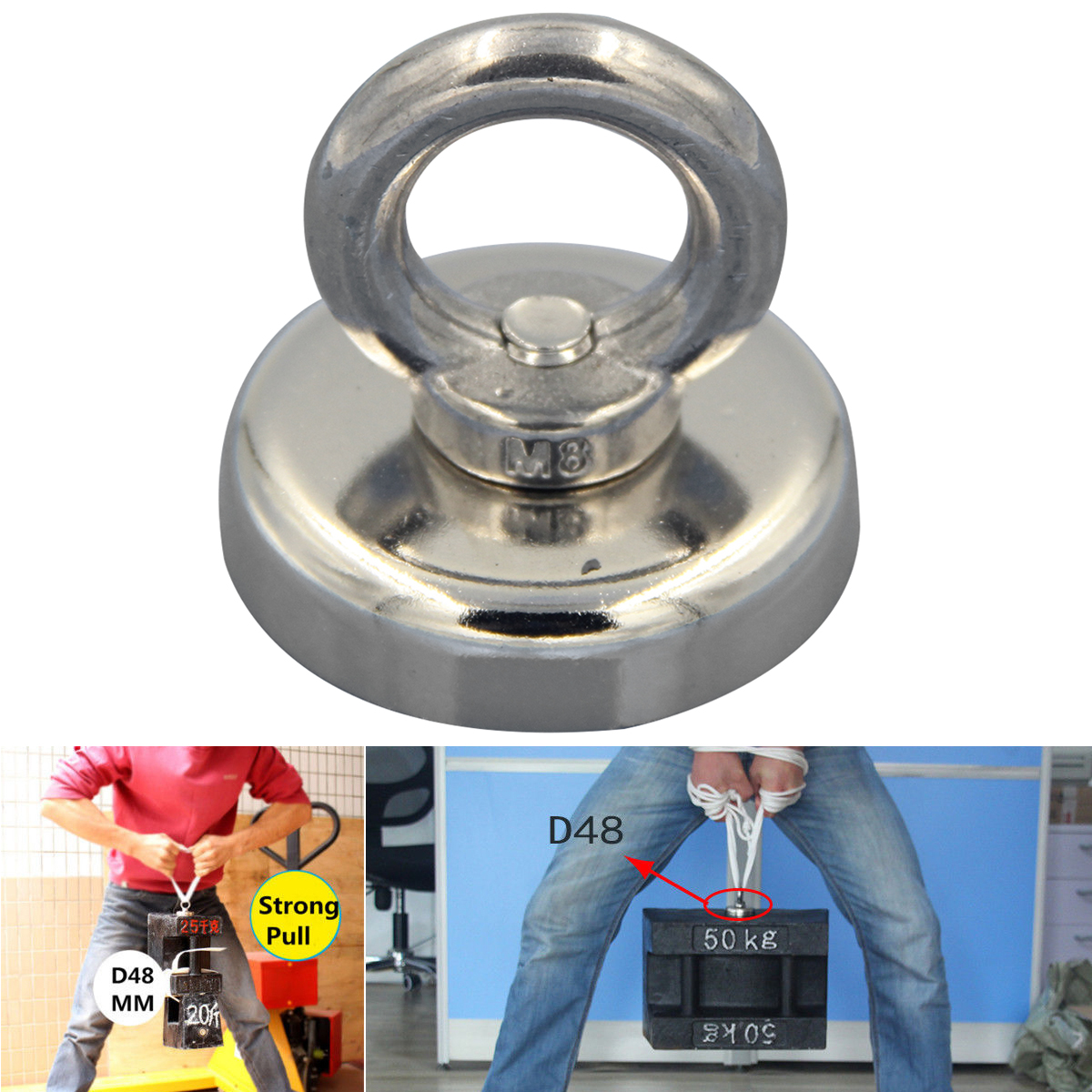 Strong Salvage  Recovery Magnet Neodymium with Eyebolt Circular Ring 48x52mm 66Kg vitagel восстановление recovery купить тюмень