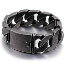 25MM Wide Friendship Mens Bracelets Punk Vintage Black Stainless Steel Charm Man Bracelet Men With Chain Link Metal Jewelry