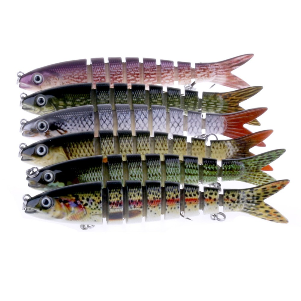 13cm 20g Fishing Wobblers 6 Segments Swimbait Crankbait Fishing Lure Bait with Artificial Hooks Pikes Amur pikc 12 5cm 20g artificial fishing lure bait 3d eyes 9 segments fish lures sea fishing crankbait swimbait tackle with 2 hooks