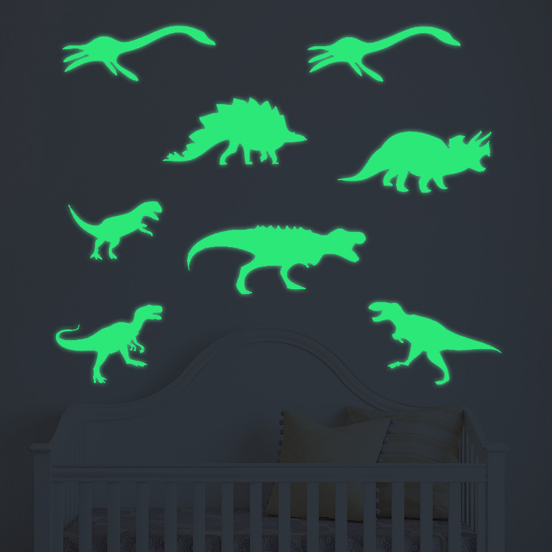 Free Shipping Glowing Wall Decals Nordic Style Shining Dinosaur Sticker For Livingroom Dining Hall Bathroom And Kid`s Room Decor