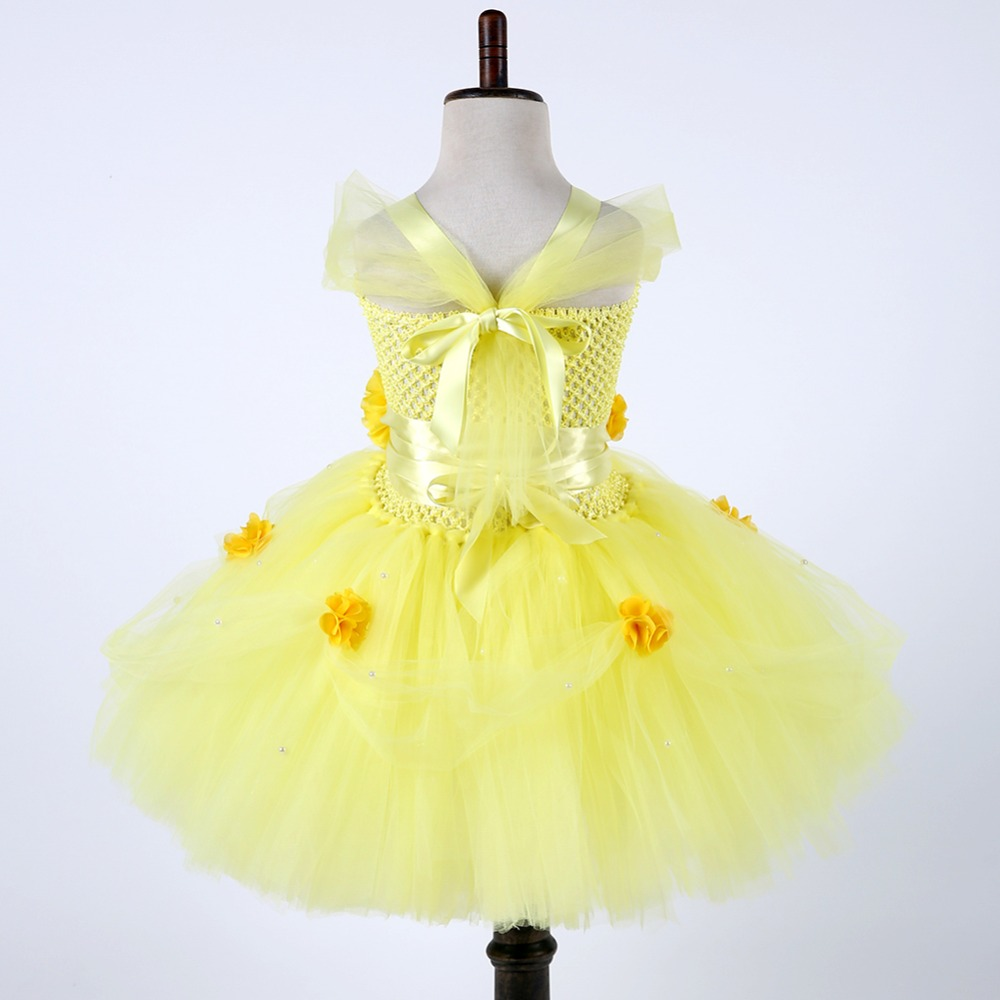Girls Tutu Skirt Yellow Beauty And The Beast Belle Age 1-10 Years