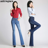 LEDINGSEN New Woman Denim Flare Pants Ladies High Stretch Jeans Womens High Waist Jeans Trousers with Embroidery Plus size 33