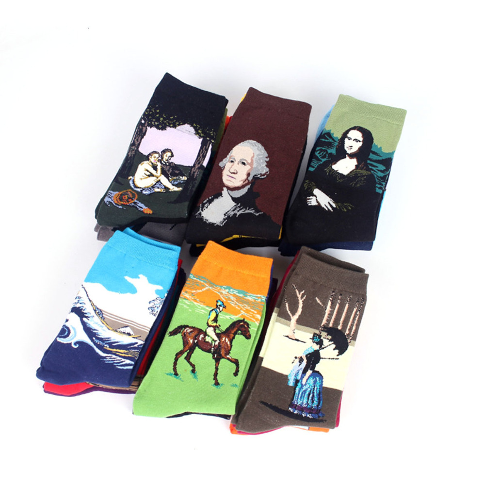 Winter Fashion Retro Women happy socks New Personality Art Van Gogh Mural World Famous Painting Series men Socks Oil Funny Socks