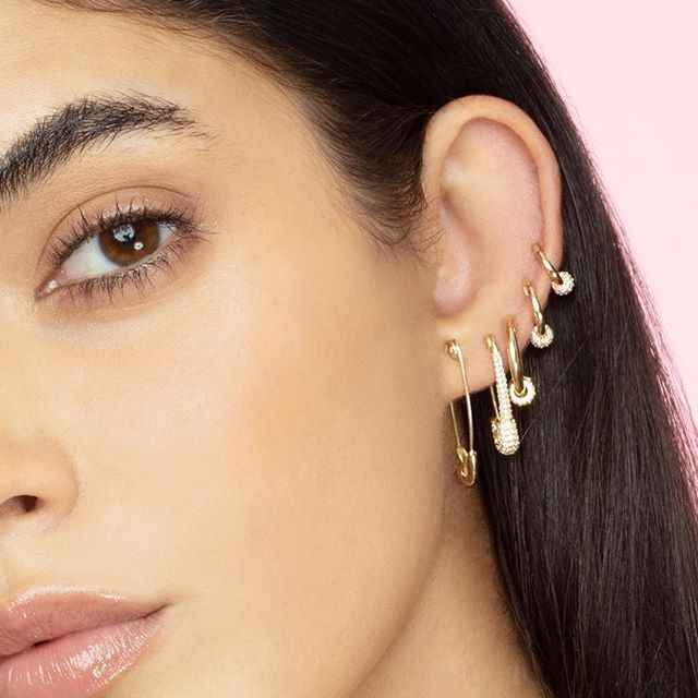 2019 Hot Selling New PUNK Rock Brief Style Gold color Small Safety Pin Shape paved cz Stud Earring For Women Men delicate dainty