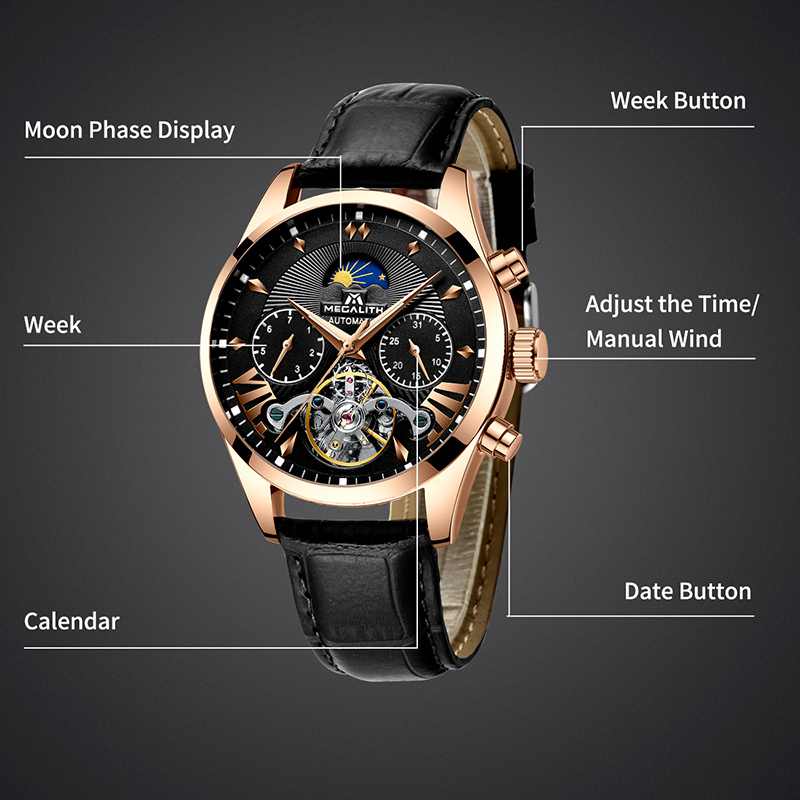 MEGALITH Men Watches Top Brand Waterproof Automatic Mechanical Watch Men Fashion Business Tourbillon Watch Male Sport Wristwatch in Mechanical Watches from Watches