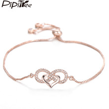 Pipitree Love Heart Infinity Bracelet for Lovers Women Lady Copper Adjustable Chain CZ Zircon Bracelets Wedding Bride Jewelry(China)