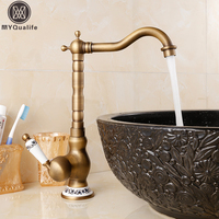 360 Rotation Brass Kitchen Sink Faucet Deck Mount One Handle Crane Kitchen Mixer Taps Antique Brass