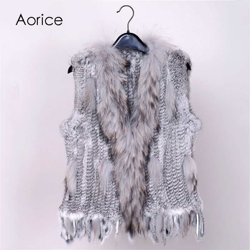 18 colors Women Genuine Knitted Rabbit Fur Vests with tassels Raccoon Fur Trimming Waistcoat wholesale drop