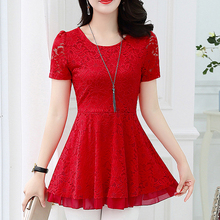 2019 Vintage Summer blouse shirt Women short sleeve Sexy Hollow Out Lace Female Casual Short Sleeve Ball Gown Party tops  815E7
