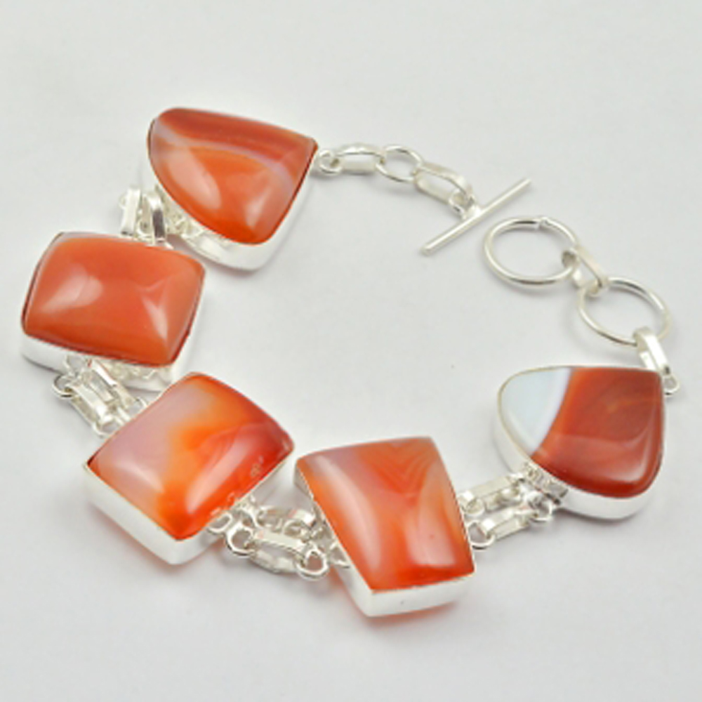Botswana Agates Bracelet Silver Overlay over Copper 20 5cm B3042 in Chain Link Bracelets from Jewelry Accessories