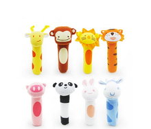 2015 newborn toys Soft Animal Model Handbells plush Rattles Squeeze Me Rattle Cute Gift Baby toy 0-12months WJ053