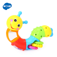 HOLA 786B Kids Educational Toys Baby Rattle Lovely Worm Toys Insert Pu