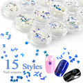 #931 2016 Fashion Nail Art 15 Multi Shapes Sparkly Flat Glitter Flake Sequins Paillettes Acrylic Nail Decorations