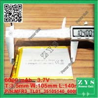 Safety Packing (Lavel 4) 3.7 V tablet battery 6000 mah each brand tablet universal rechargeable lithium batteries 35105140