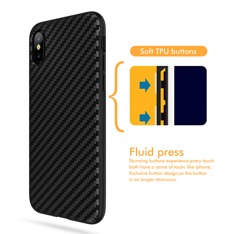 Phone Case For iphone 11 pro Max 7 8 6 6s plus Cover For Soft Plain Black Carbon Fiber protection case For iphone X XS 5 SE 2020