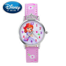 2017 Disney Kids Watch Children Watch  Princess Sofia Minnie Snow White Fashion Quite Wristwatches Girls  Leather clock