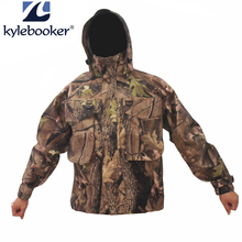 Out of doors Bionic Camouflage Waterproof Fly Fishing Wading Jacket Breathable Searching  Wader Jacket Ghillie Garments