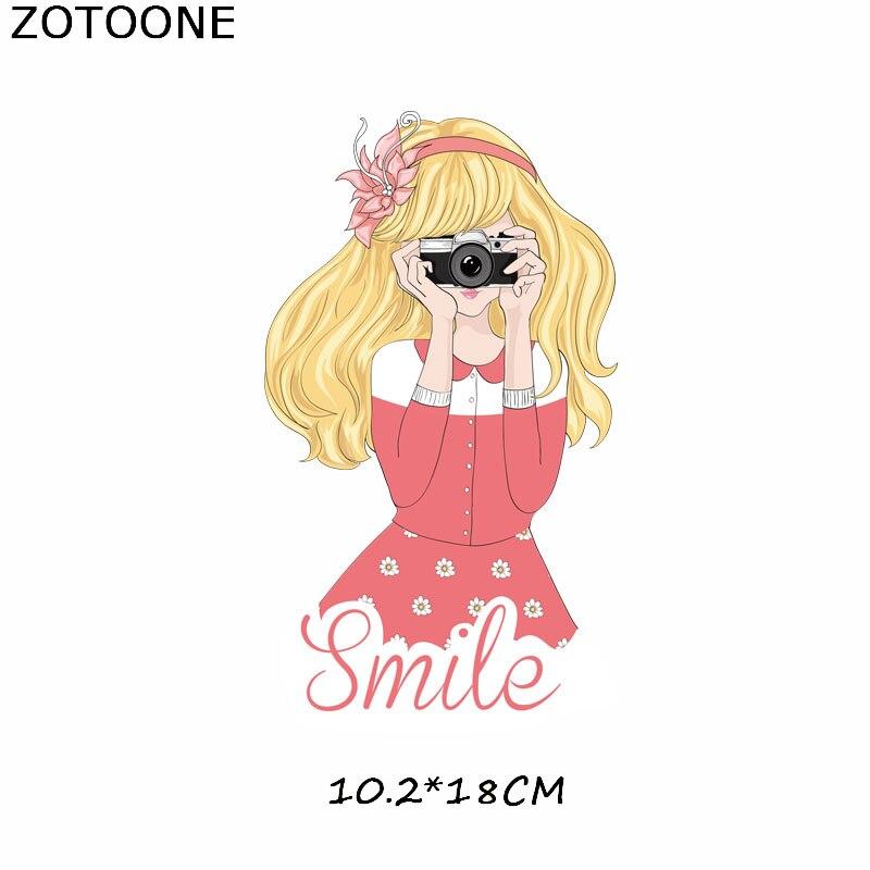 """ZOTOONE железные нашивки на одежду Diy полоски 3D аппликация """"Девочка"""" теплопередача для украшения из ткани наклейки для детей G - Цвет: 456"""