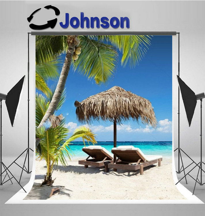 Caribbean Chairs Umbrella Palm tree sea Beach photography backgrounds Computer print party photo backdrop image