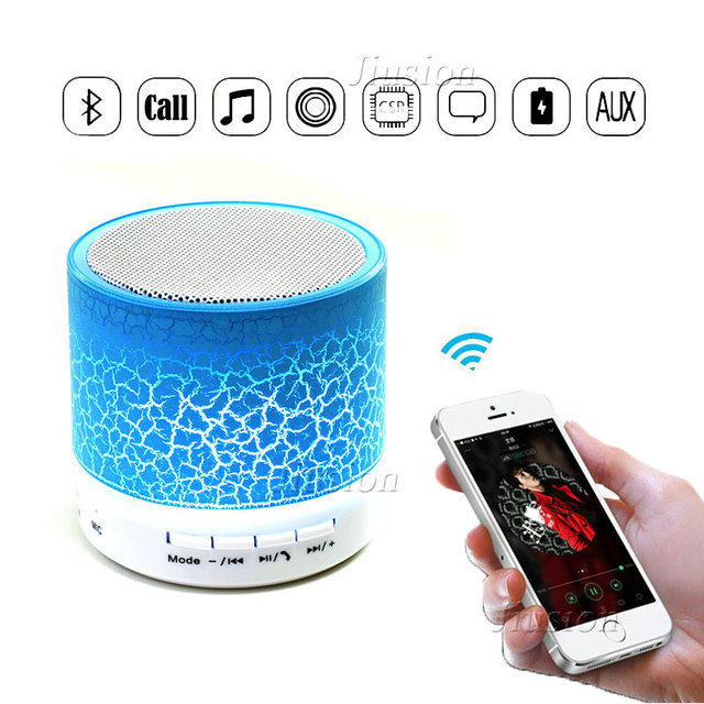 Mini Bluetooth Speakers Portable LED Night Light Colorful Wireless Music MP3 Player Speaker Hands Free TF Card Mic USB AUX Audio