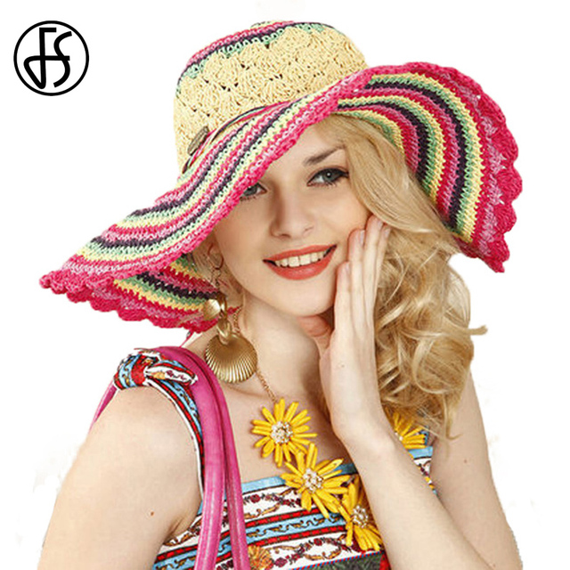FS Verão Chapéu Para As Mulheres Do Vintage Colorido Grande Aba Larga  Chapéus De Palha Praia 2313a3cb299