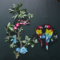 Set of 2 Sew On Embroidery Patch Embroidered Bird Flower Applique Patches For Dress Parches Bordados Ropa Sewing Supplies AC0769