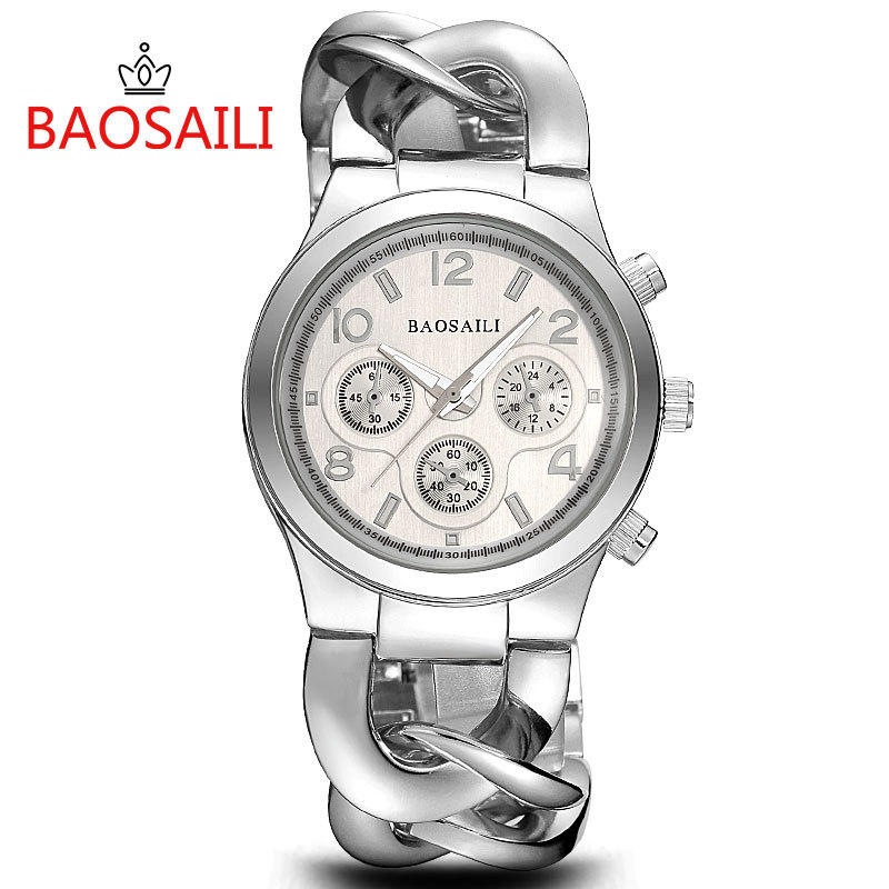 Baosaili Luxury Women Wrist Watch Full Steel Bracelet Ladies Watch Link Chains Band Female Dress Quartz Watch Clock Reloj Mujer weiqin luxury gold wrist watch for women rhinestone crystal fashion ladies analog quartz watch reloj mujer clock female relogios