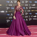 Celebrity Red Carpet Dresses 2016 Vestido de festa Burgundy Formal Prom Gowns Appliques Long Sleeves Evening Dresses Burgundy
