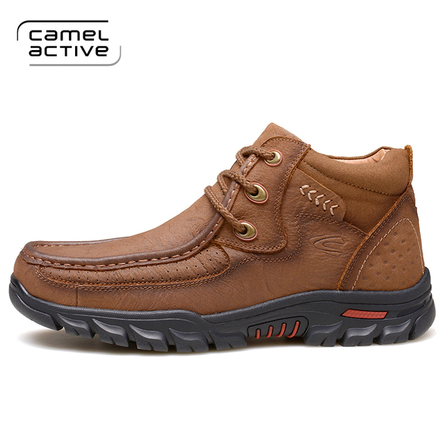 Camel Active 2018 Men's Genuine Leather Boots Winter Warm Working Boots  Mountain Shoes Vintage High Quality