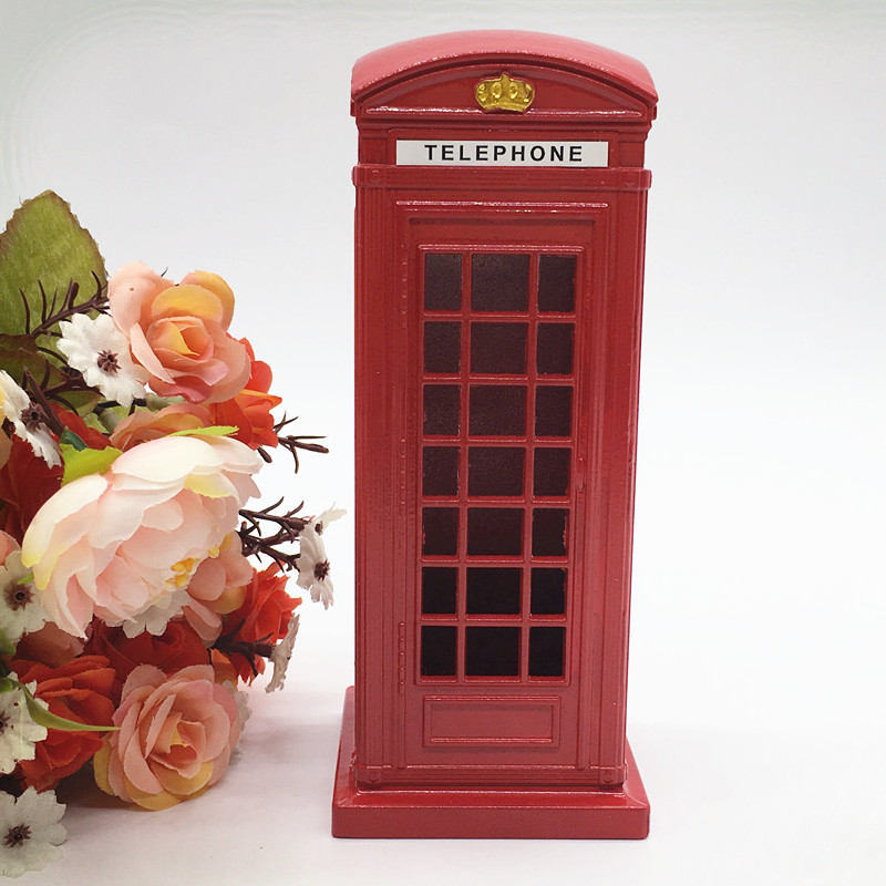 15cm Birthday Gift New Year Gifts Classic London Red Telephone Booth Piggy Bank Postal Money Pot Safe Coin Box
