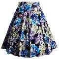 Женщины Качели Юбки Женщин Ретро Печать Летние Юбки Femme Элегантные Цветы Юбки