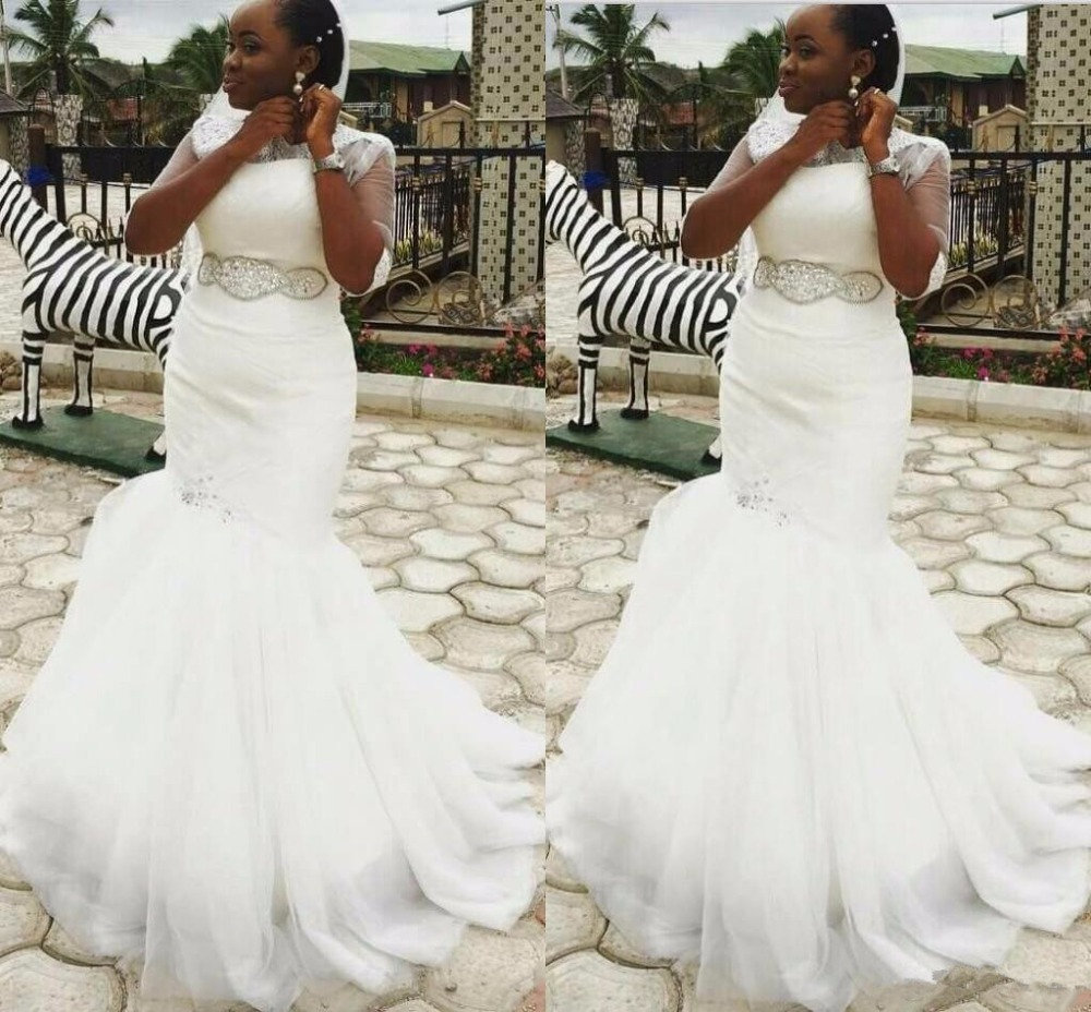 2019 Nigerian South African Mermaid Wedding Dresses Beads Sashes Lace Appliques Tulle Bridal wedding Gowns Vestidos de novia