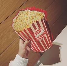 South Korea Women's funny mini should bags PU Leather Ladies handbags popcorn fries cross chain Messenger Crossbody Small Bag