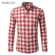 a3e13b9fc5 New Red Plaid Checkered Shirt Men 2017 Spring Autum Casual Slim Fit Mens  Long Sleeve Button