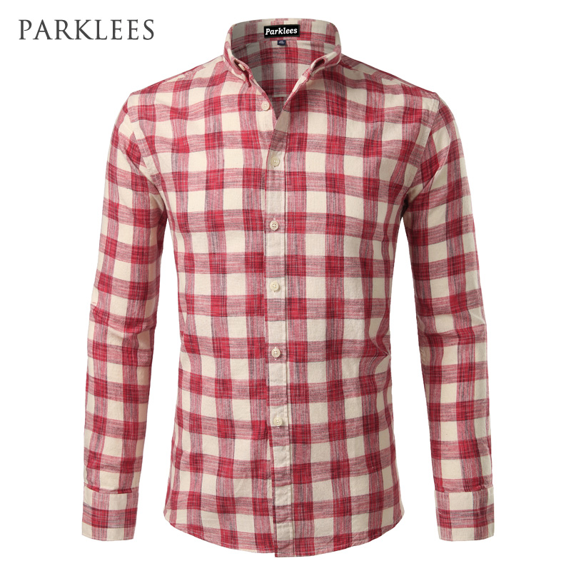 New Red Plaid Checkered Shirt Men 2017 Spring Autum Casual Slim Fit Mens Long Sleeve Button Down Dress Shirts Chemise Homme