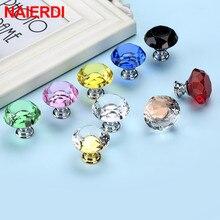 NAIERDI Crystal Glass Knobs Diamond Shape Design Cupboard Drawer Pull Kitchen Cabinet Door Wardrobe Handles Hardware