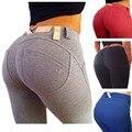 2016 Primavera Otoño Cadera Delgada Atractiva de las mujeres jeans Pantalones de moda femenina Pantalones de Mezclilla de Bolsillo del color sólido más el tamaño S-XL