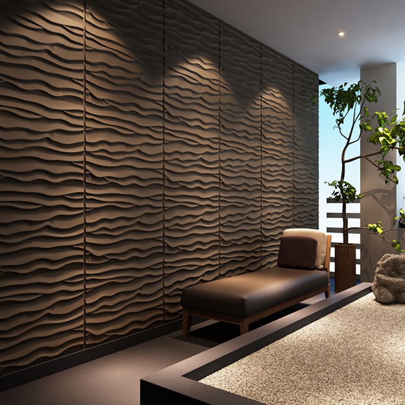 3D Wall Panels Plant Fiber Wave Tiles Brick Wallpaper For Wall Decoration Board
