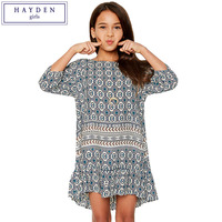 FAMIFAMI Junior Girls Retro Print Vintage Ruffle Dresses Kids Summer Bohemian Loose Fit Dress Fashion Child