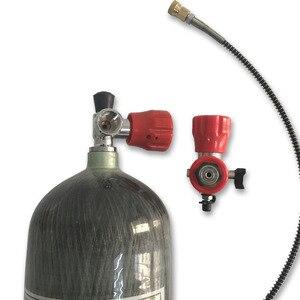 Image 2 - AC168101 expédition de RUS ensemble entier Paintball réservoir PCP Air Refile composé cylindre en Fiber de carbone avec Station de remplissage de Valve