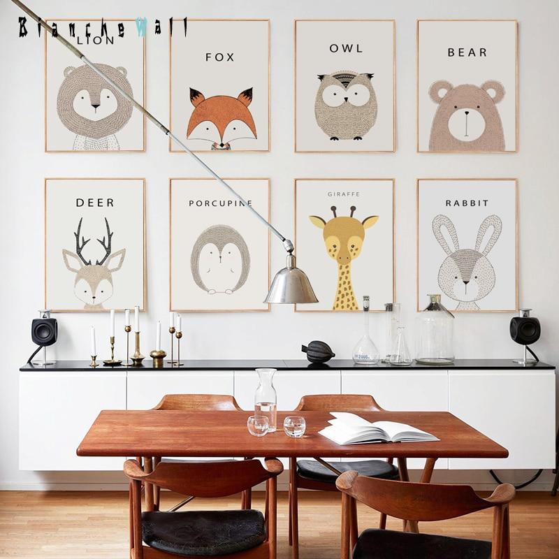 simple lindo animal de la historieta a cuadro de la pared pintura de la lona de