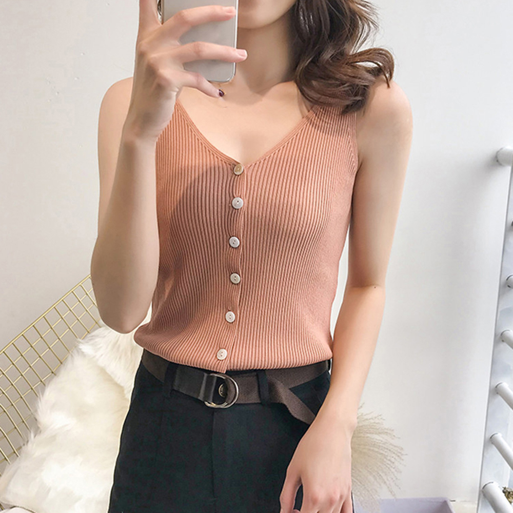 Sexy Women Summer Camisole Sleeveless Comfortable V-neck Vest Slim Sling   Tank     Tops   Female Autumn Knit Candy Color   Tank     Tops
