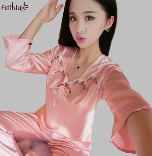 af6c7fb6db New sexy silk pajamas women long sleeve spring summer pyjama set plus size  sleepwear female home clothes pijamas mujer A478