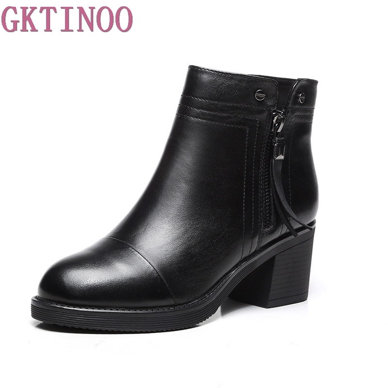 GKTINOO Top Quality Autumn Winter Genuine Leather Short Boots Fashion Pointed toe Ankle Boots New Thick High Heels Shoes Woman fedonas top quality winter ankle boots women platform high heels genuine leather shoes woman warm plush snow motorcycle boots