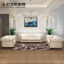 OSHINES FURNITURE Factory Direct Sale Wholesale Yellow Italian Pure Leather  Sofa Set W36A(China)