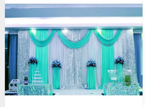 Offre spéciale 10ftx10ft sequin mariage toile de fond rideau avec toile de fond swag/décoration de mariage romantique glace soie scène rideaux