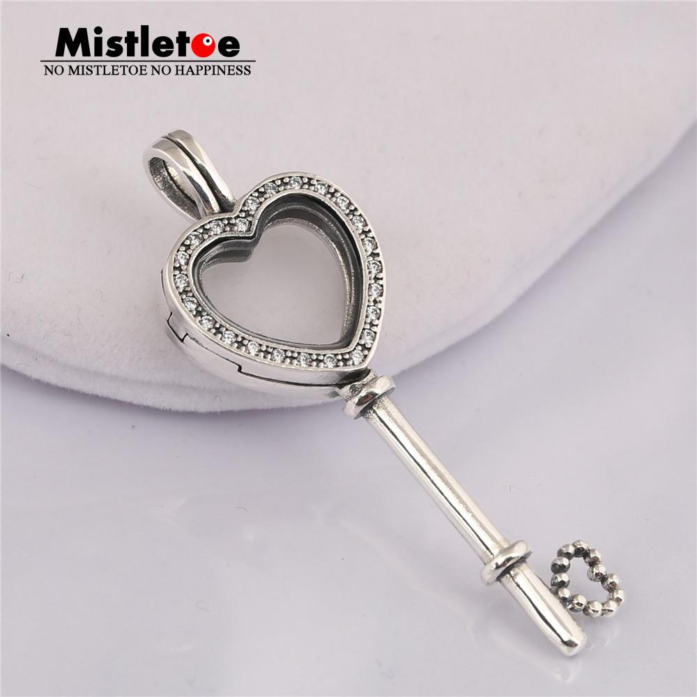 87796977d Authentic 925 Sterling Silver Floating Locket Heart Key Necklace, Sapphires  Crystal & Clear CZ Fit European Necklace Jewelry