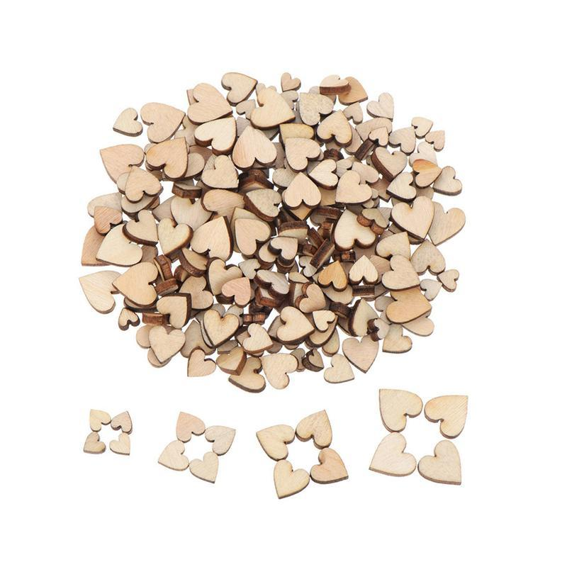 200 Pcs Blank Heart Wood Slices Discs Wood Heart Love Blank Unfinished Natural Crafts Supplies Wedding Ornaments