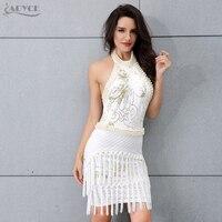 Adyce 2018 BÁN HOT Trắng Dây Màu Đen Cổ Hạt Tassel Phụ Nữ Fringe Mini Dresses Sexy Celebrity Dress Vestidos Clubwear