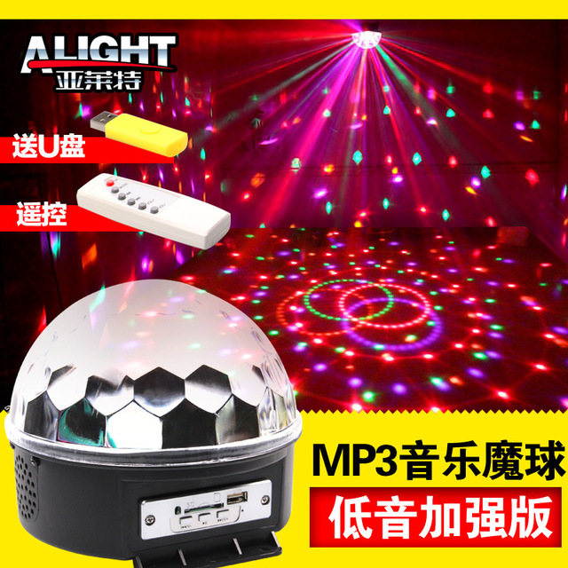 US $30 61 |Remote MP3 music LED magic crystal ball laser new stage lights  KTV revolving Flash Sonic-in Stage Lighting Effect from Lights & Lighting  on